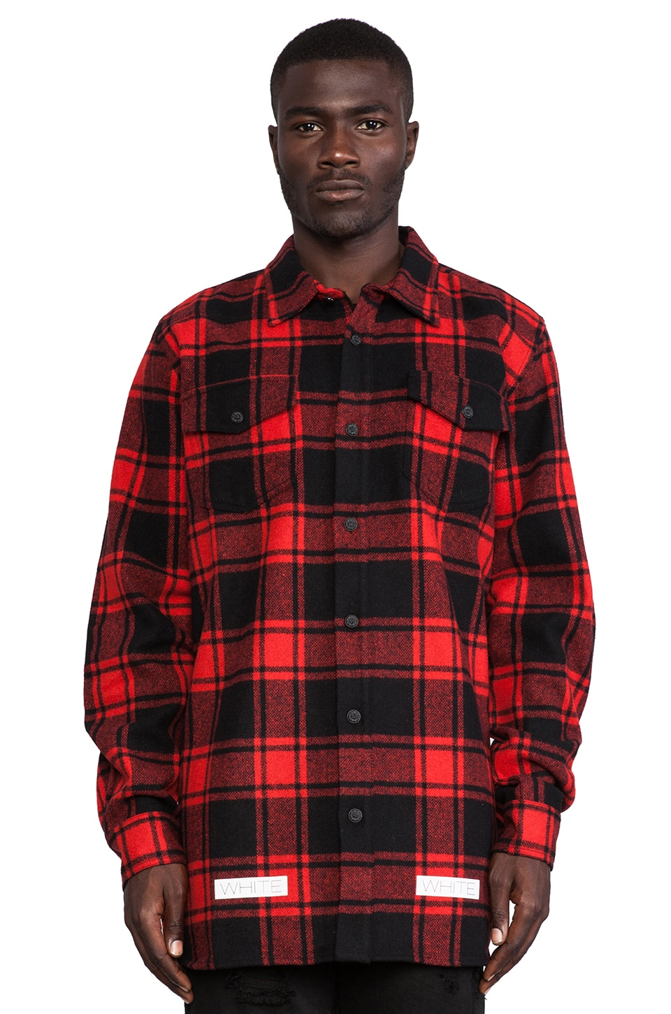OFF-WHITE Button Down Wool-Blend Flannel in Red Check