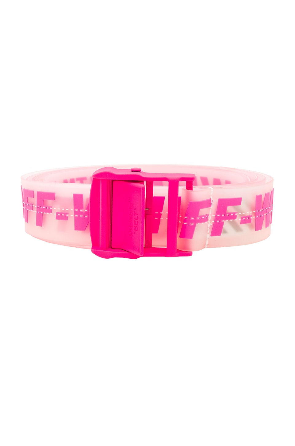 OFF-WHITE Rubber Industrial Belt in Transparent & Fuchsia