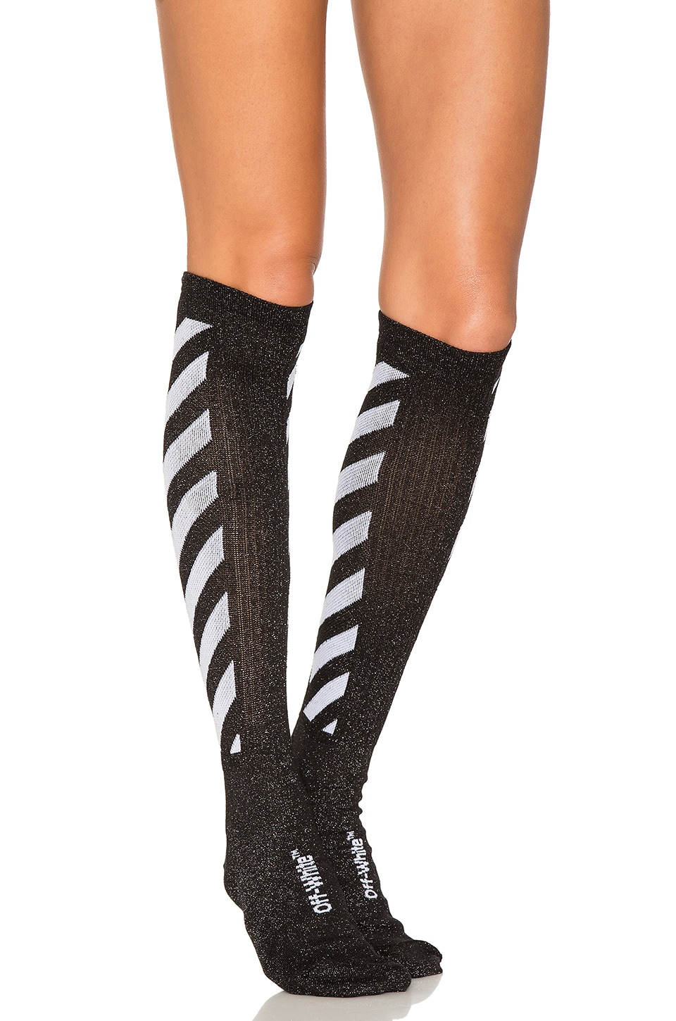 OFF-WHITE Shiny Socks in Black