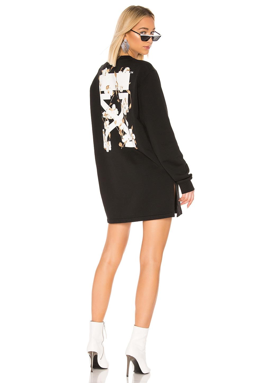 OFF-WHITE Crewneck Sweatshirt Dress in Black