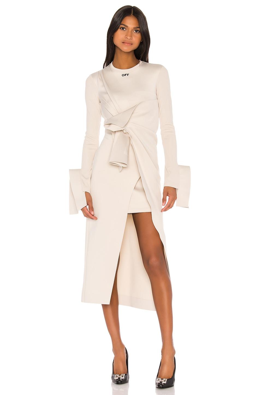 OFF-WHITE Wrap Shirt Dress in Beige & Black