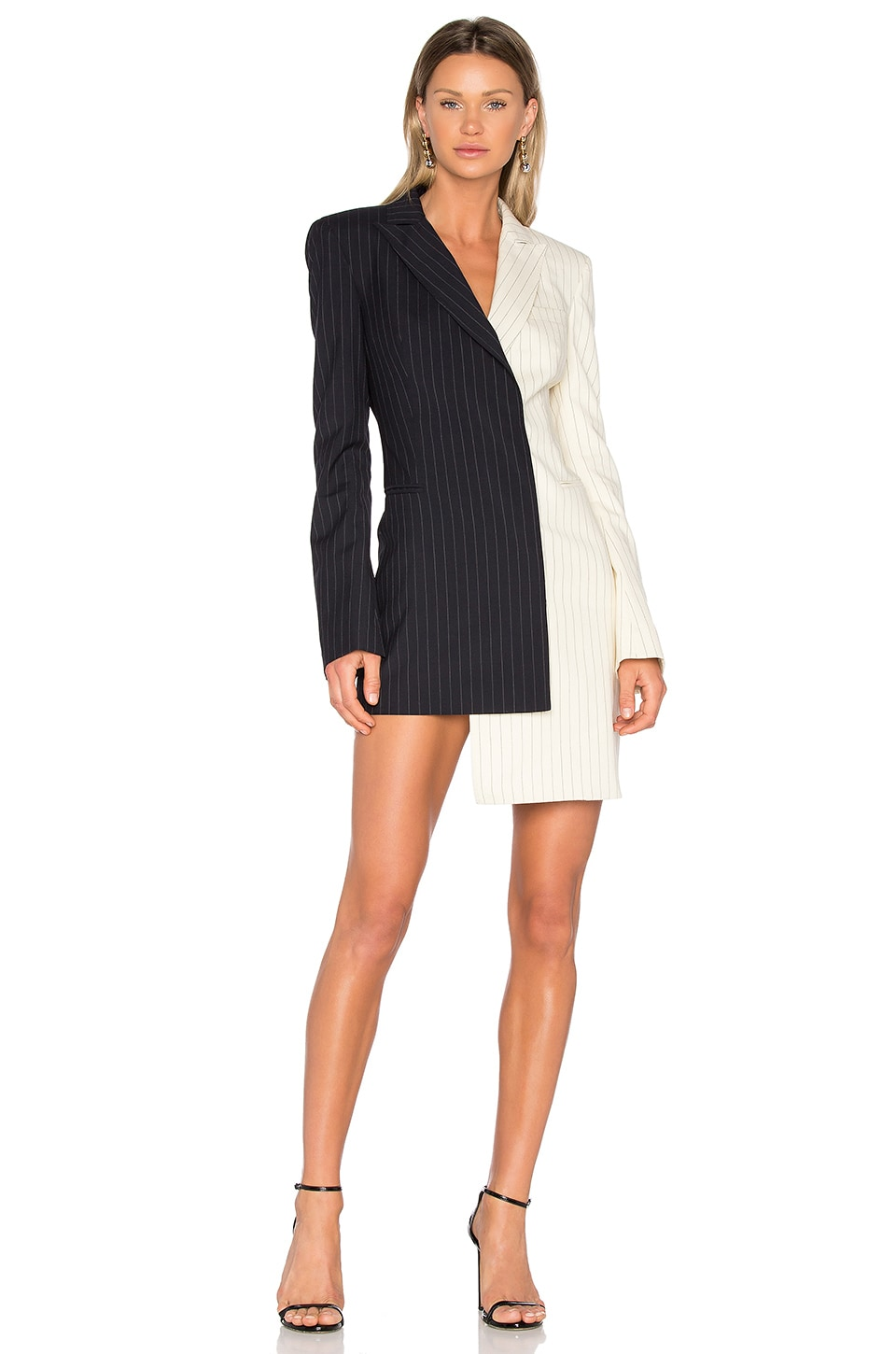 buy Pinstripe Formal Dress by OFF-WHITE dresses online shopping