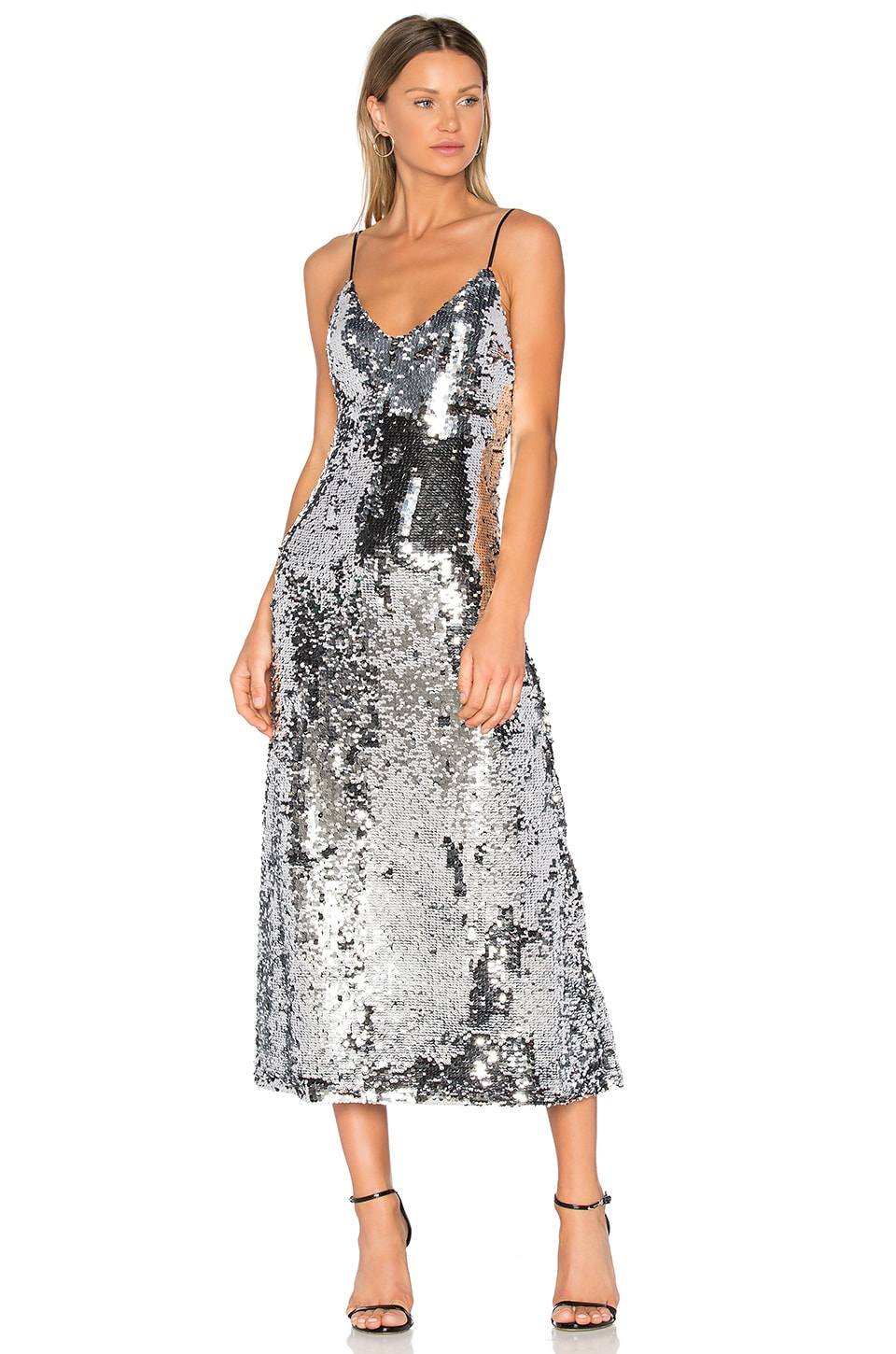 OFF-WHITE Sequins Slip Dress in Silver