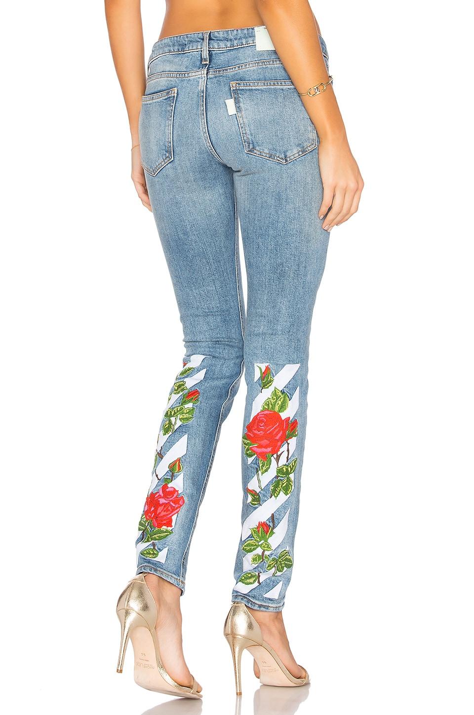 OFF-WHITE Diag Roses 5 Pocket Skinny Jeans in Vintage Wash