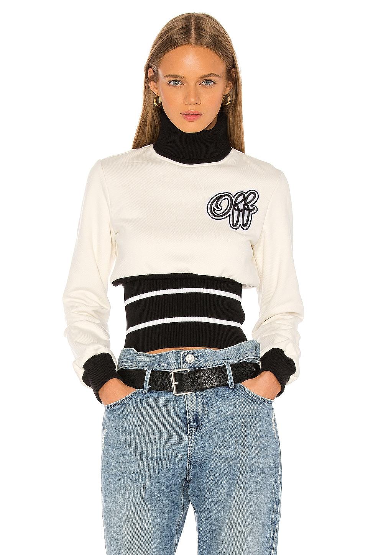 OFF-WHITE Cheerleader Ribbed Sweatshirt in White Black