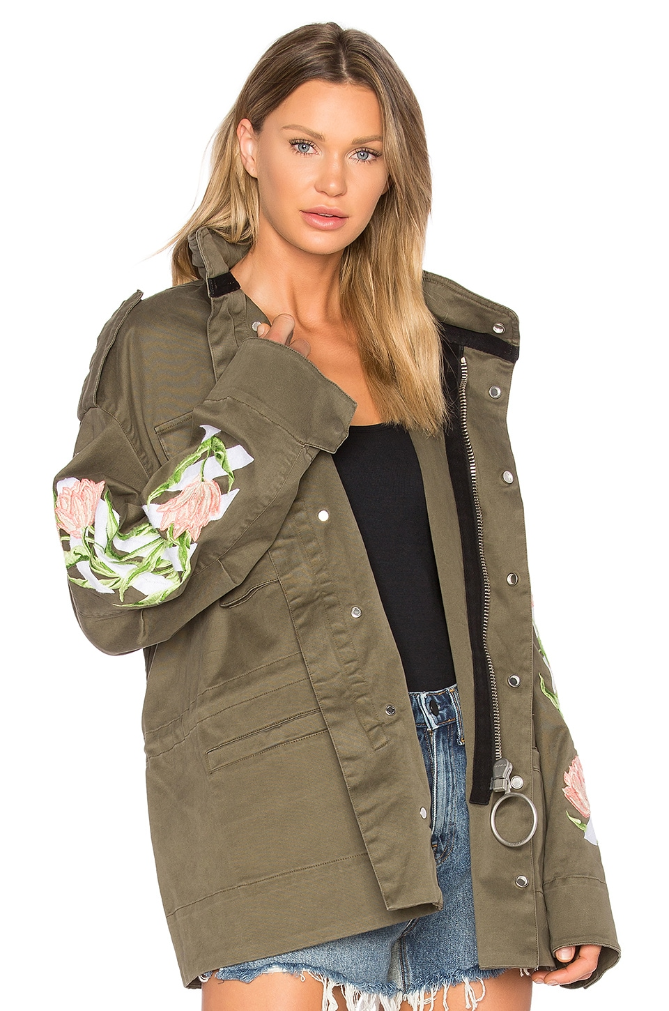 OFF-WHITE Tulips M65 Jacket in White, Military Green & Multi