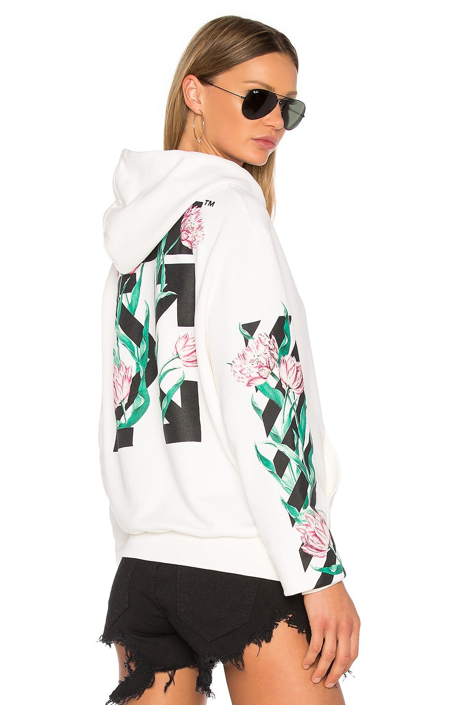 ba402020a3f2 OFF-WHITE Tulips Hoodie in White   Multi