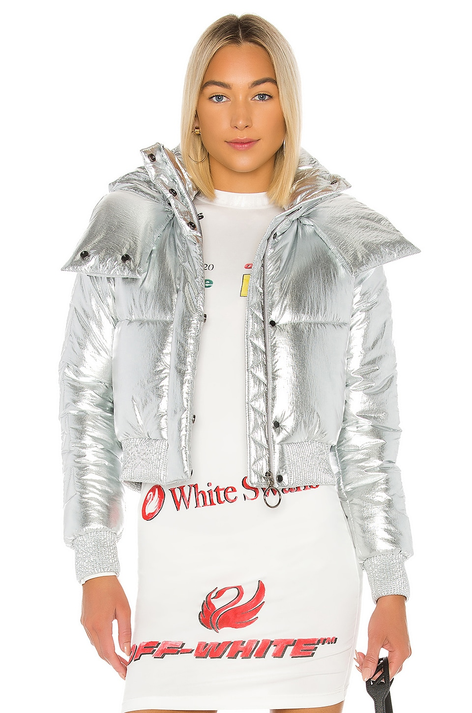 OFF-WHITE Silver Down Jacket in Silver