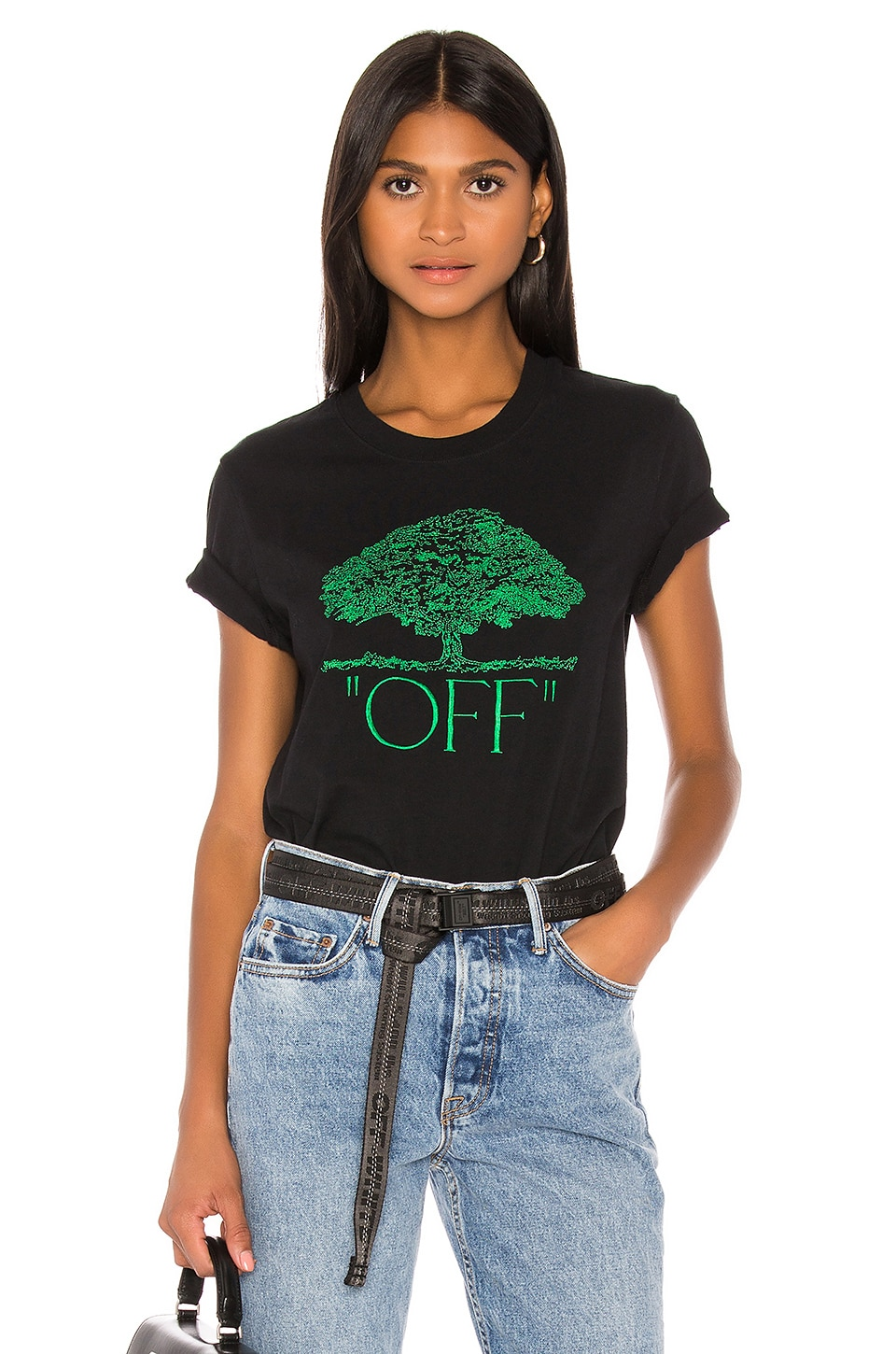 OFF-WHITE Tree Casual Tee in Black & Green