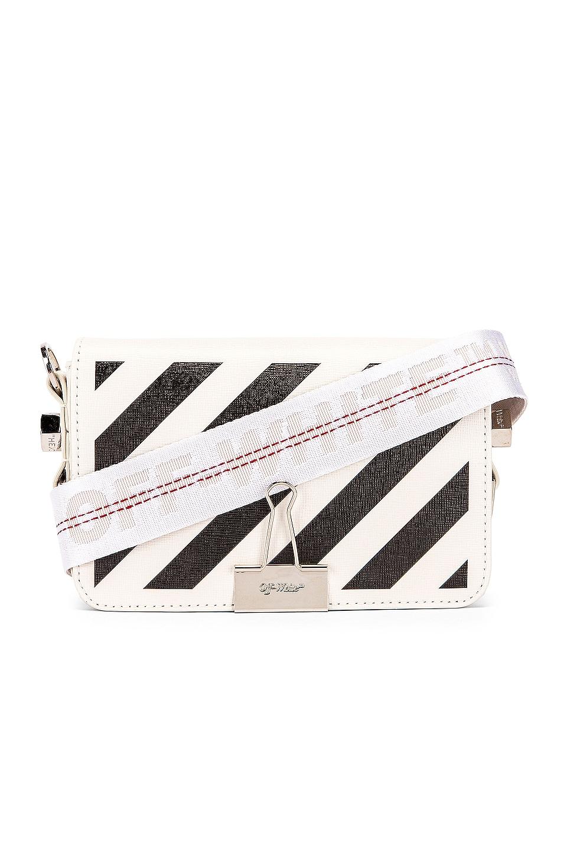 OFF-WHITE Diagonal Mini Flap Bag in White & Black