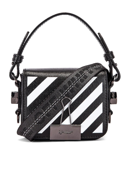 OFF-WHITE Diagonal Baby Flap Bag in Black & White