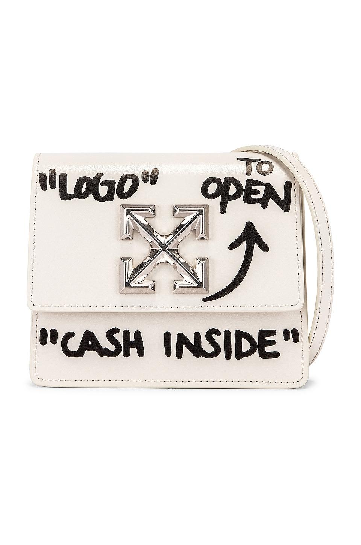 OFF-WHITE Jitney 0.7 Cash Inside Bag in Off White & Black