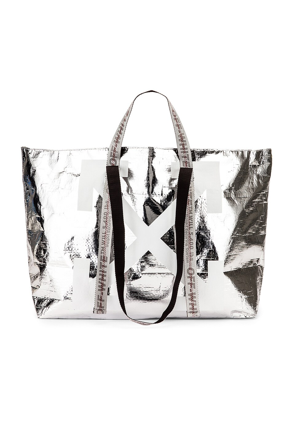 OFF-WHITE New Commercial Tote in Silver & White