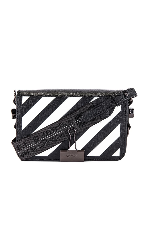 OFF-WHITE Diagonal Mini Flap Bag in Black & White