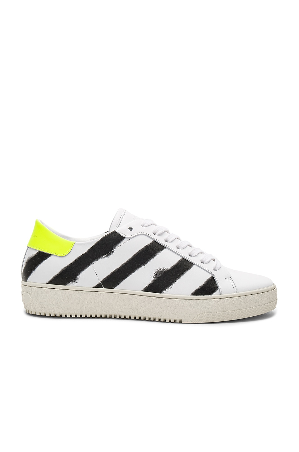 OFF-WHITE Spray Diagonal Sneakers in White & Black