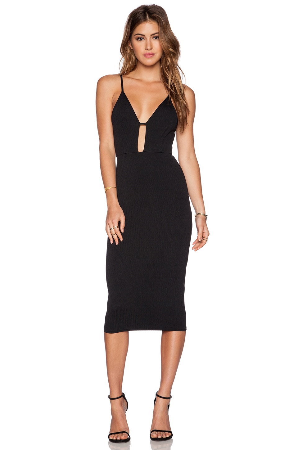 OH MY LOVE Keyhold Midi Dress in Black Diamond Waffle