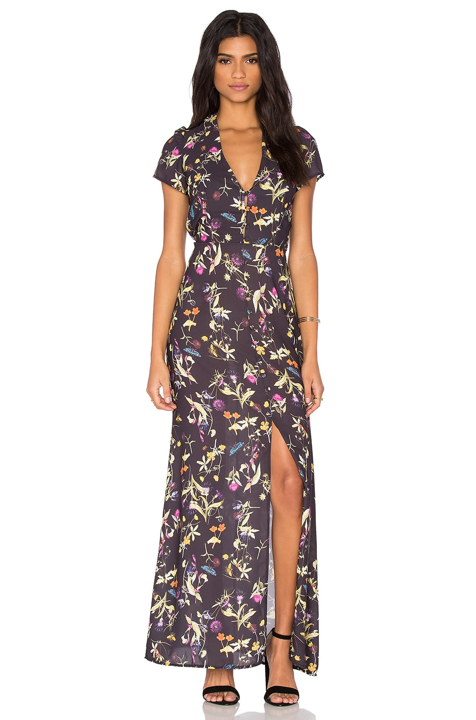 OH MY LOVE Tea Dress in Midnight Botanical