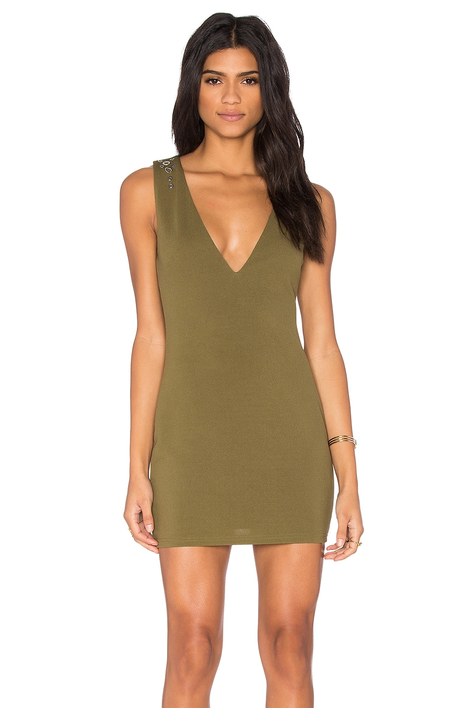 OH MY LOVE Plunge Stud Dress in Khaki