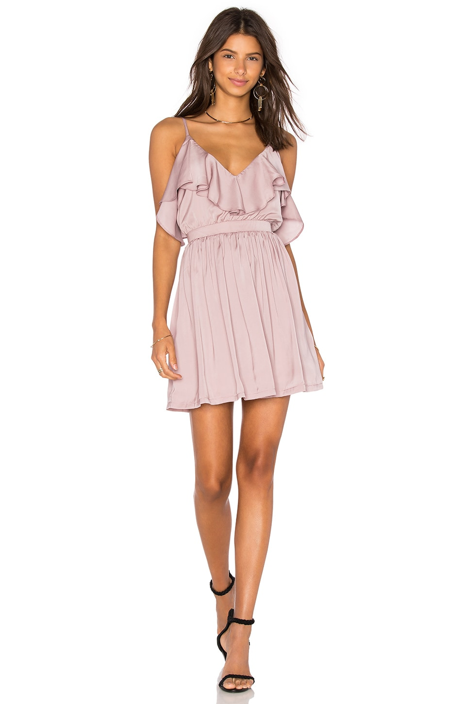 OH MY LOVE Grecian Frill Dress in Mink