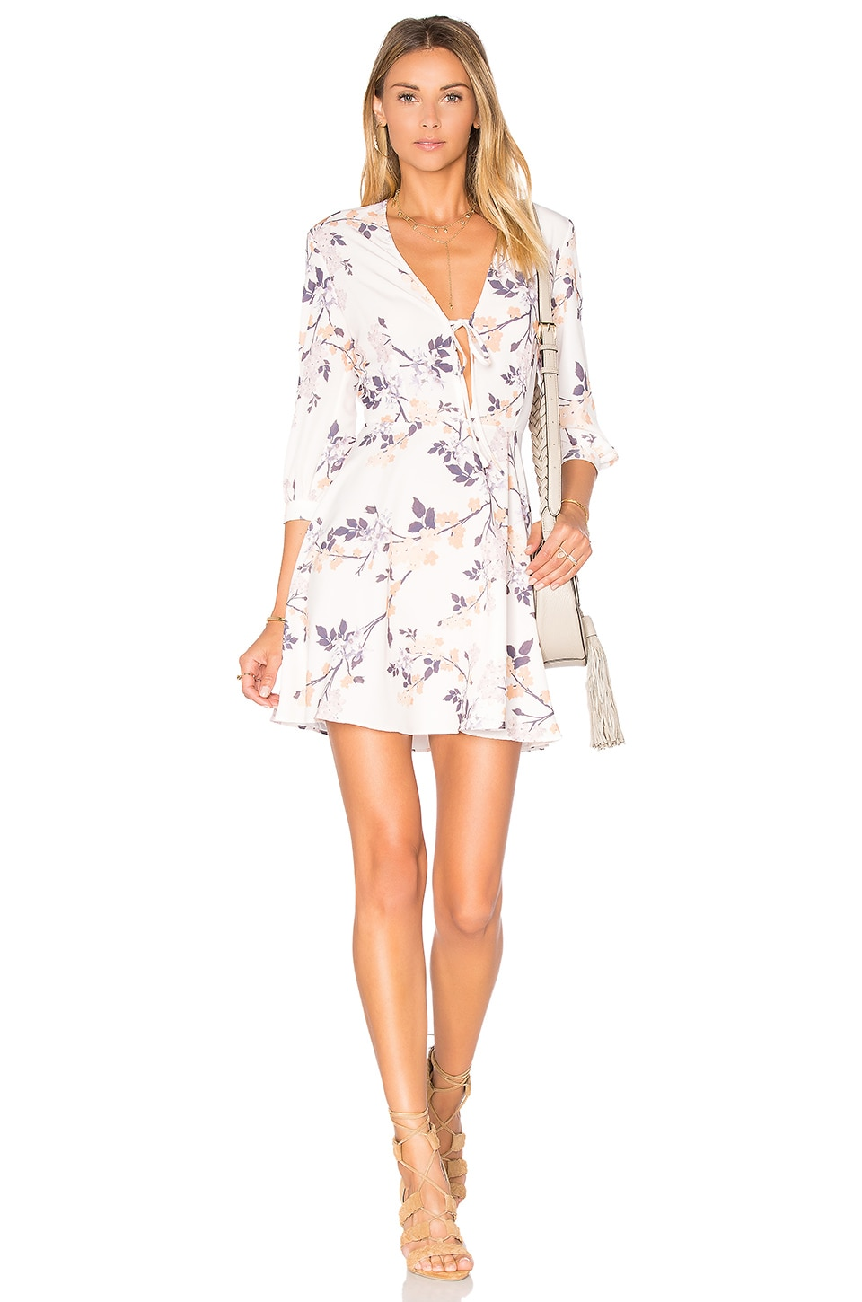 OH MY LOVE Tie Front Skater Dress in Japanese Blossom
