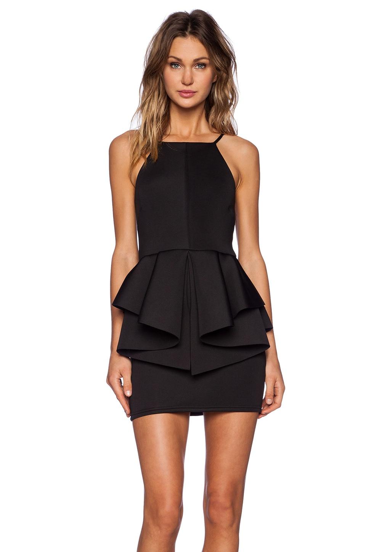 OH MY LOVE Peplum Mini Dress in Black