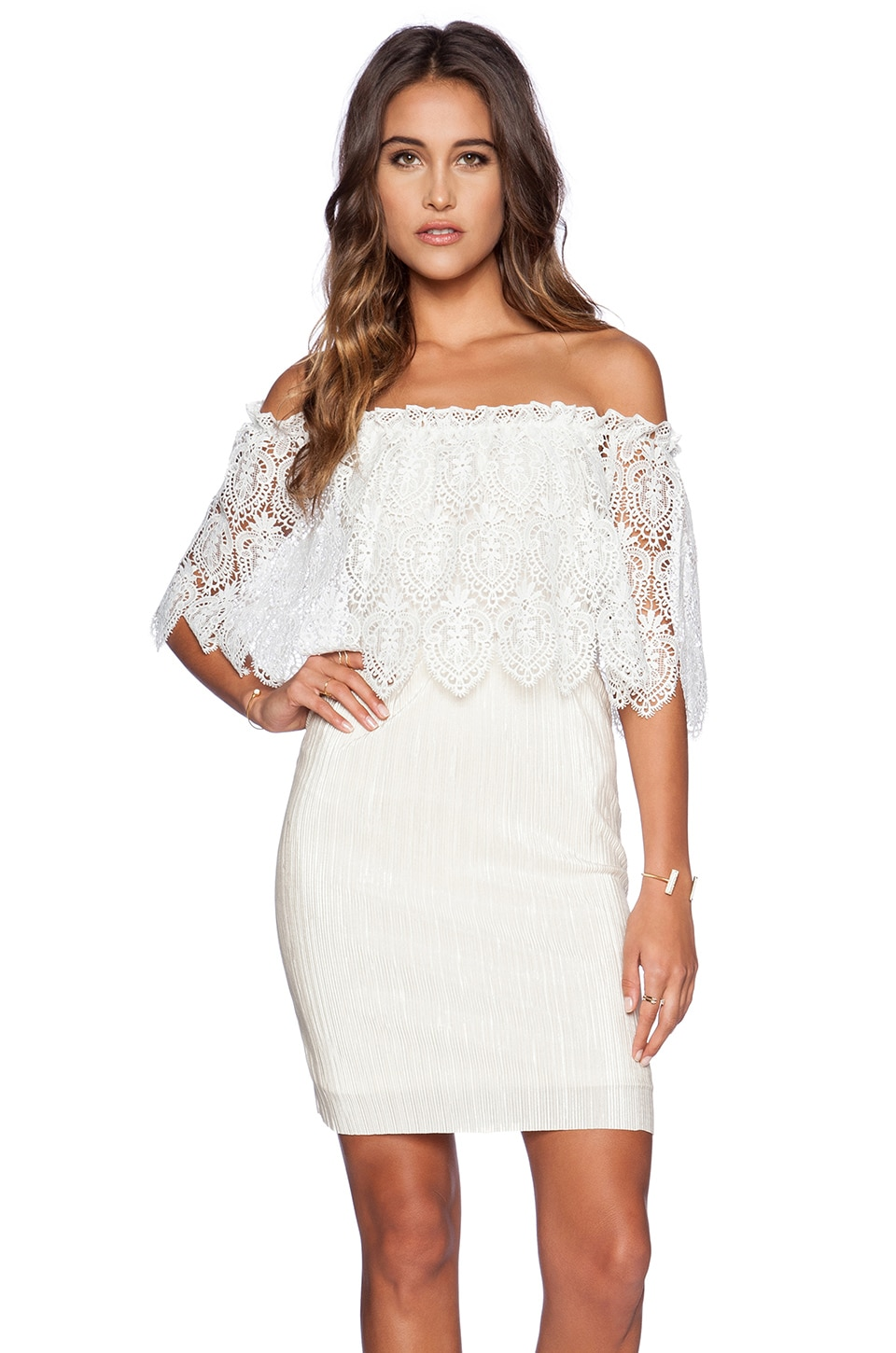 OH MY LOVE Grecian Mini Dress in Ivory & White Lace