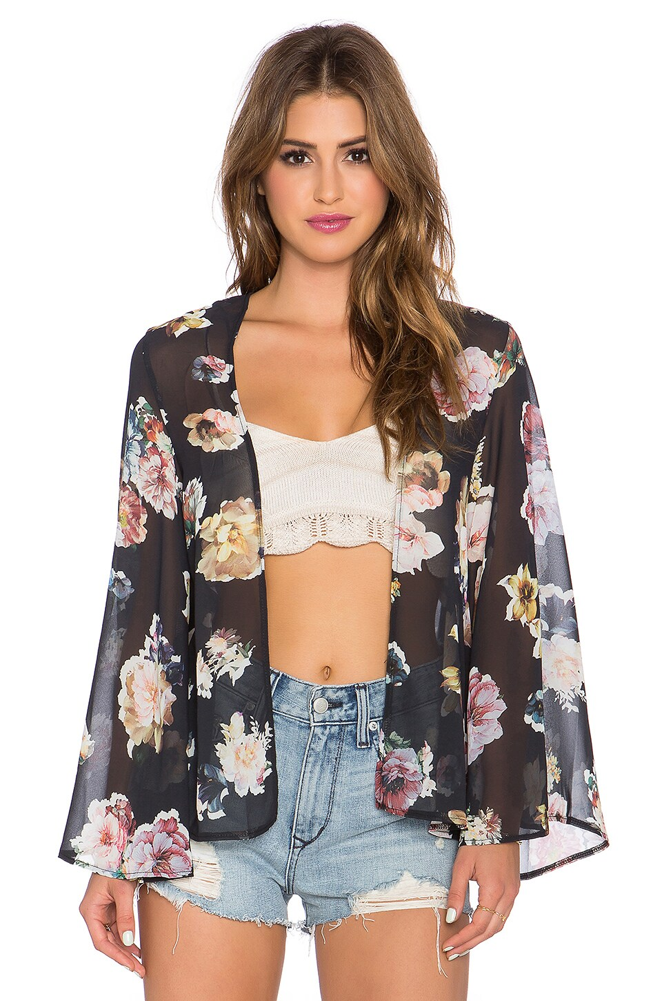 OH MY LOVE She Loves Floral Kimono in Black Floral