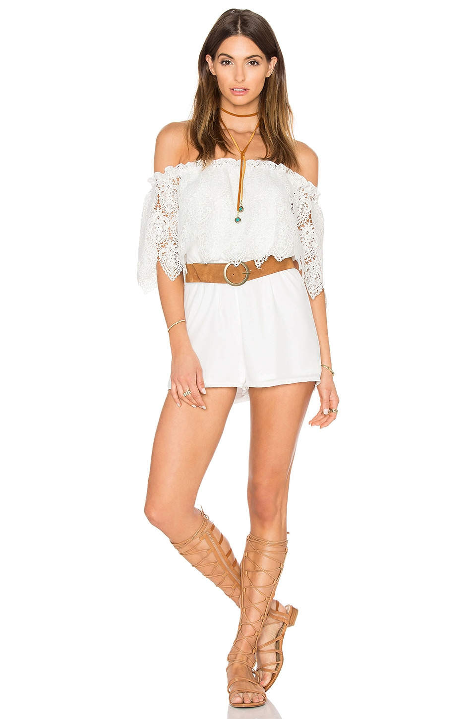 OH MY LOVE Off Shoulder Lace Romper in White