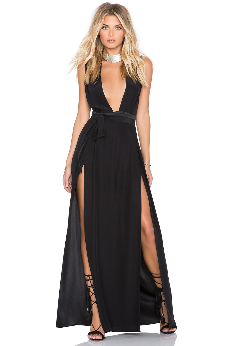OLCAY GULSEN Double Slit Maxi Dress in Black
