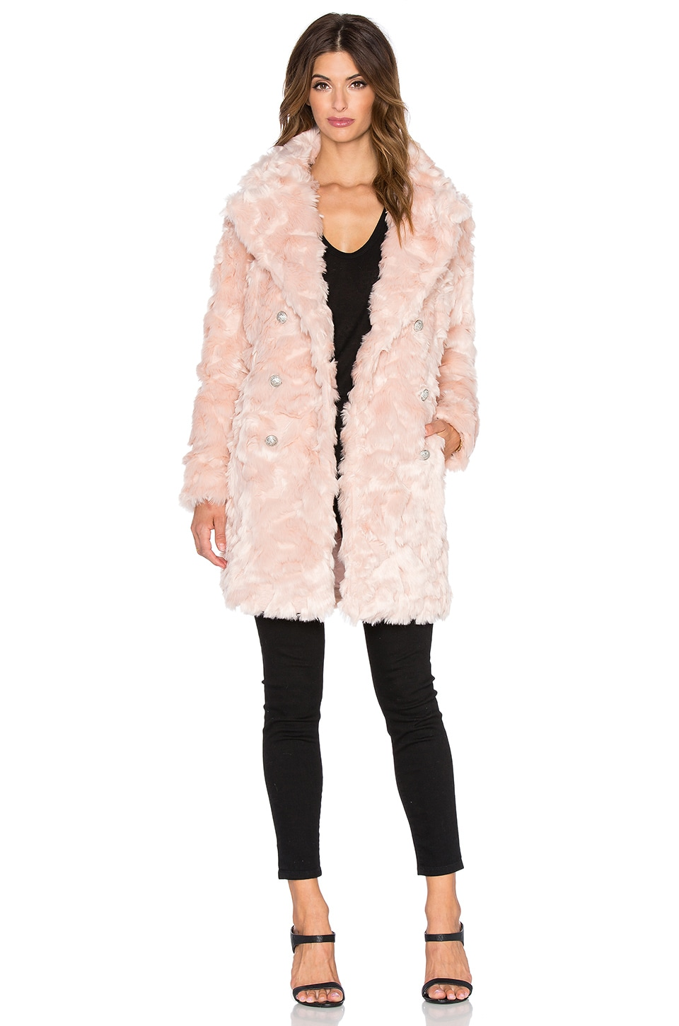 OLCAY GULSEN Offspring Faux Fur Coat in Sweet Delight
