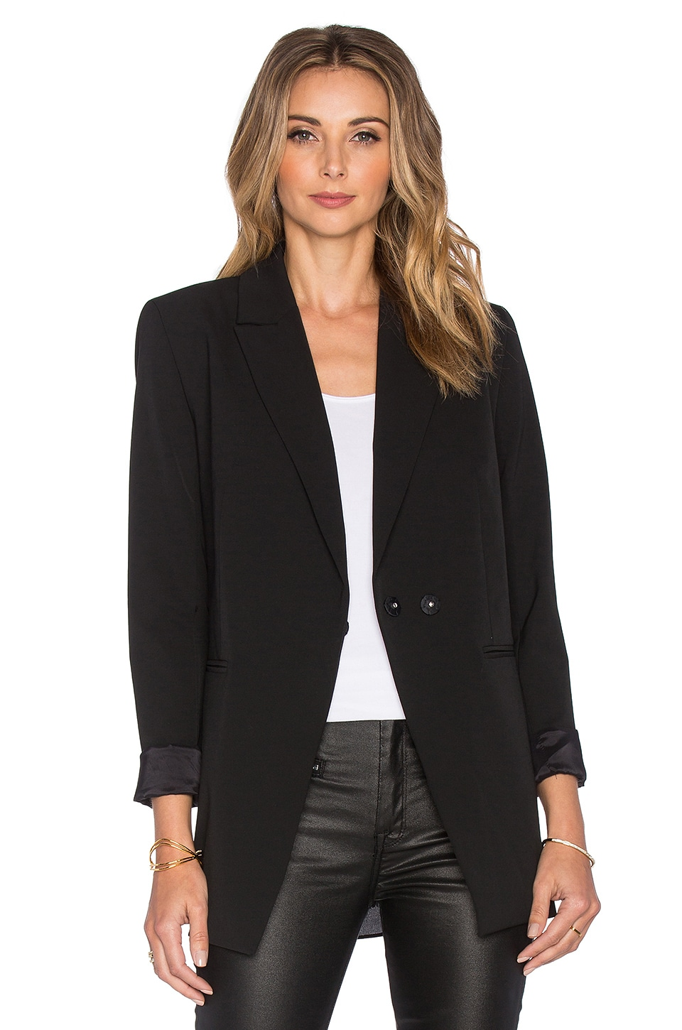 OLCAY GULSEN Tailored Georgette Blazer in Black
