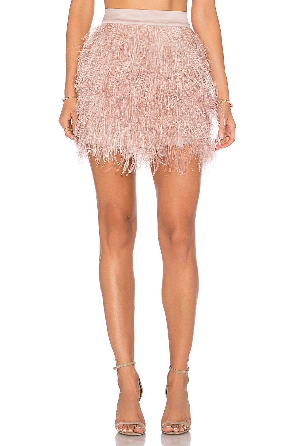 OLCAY GULSEN Mini Feather Skirt in Liver