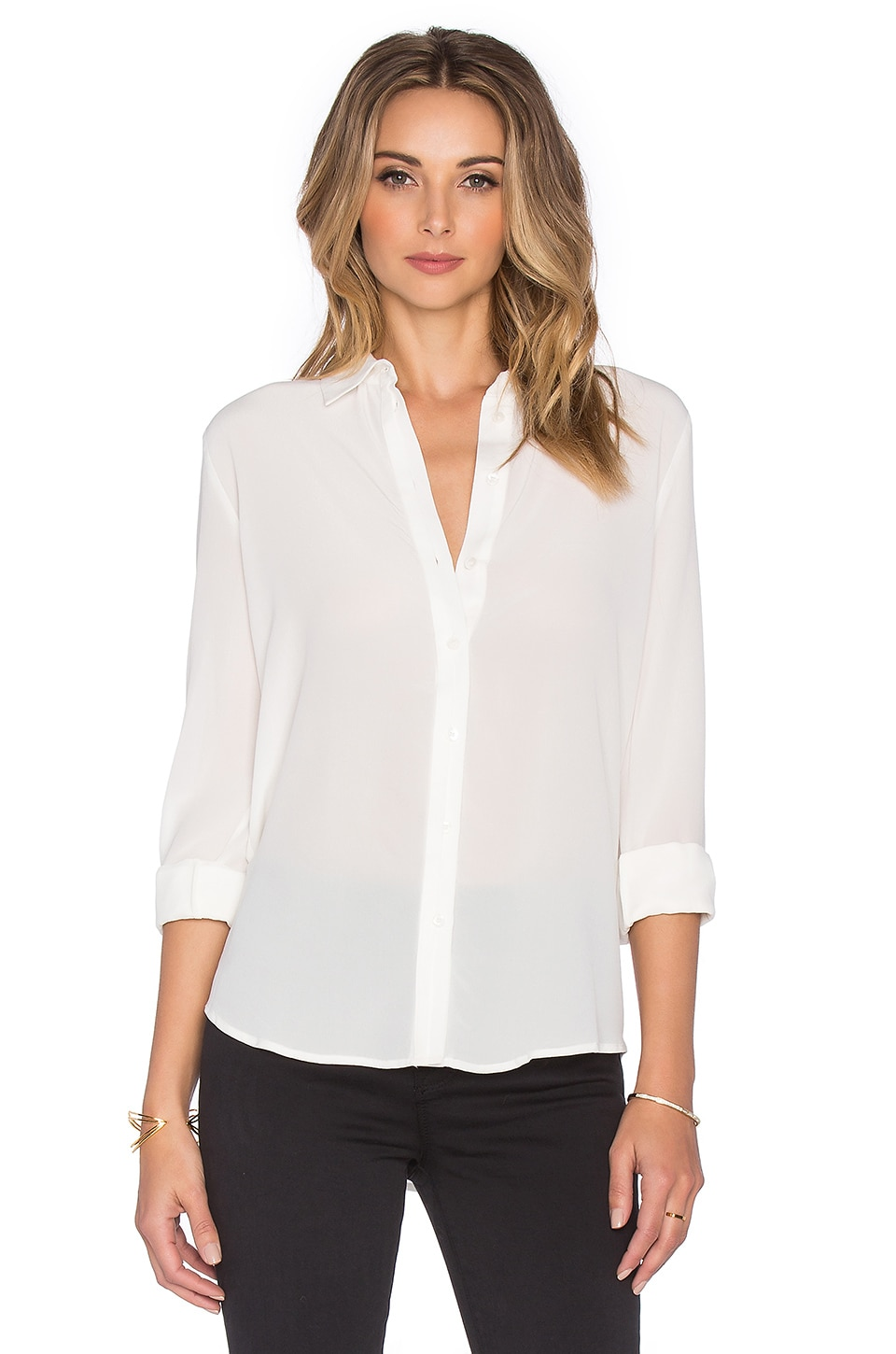 OLCAY GULSEN Button Down Silk Shirt in Off White