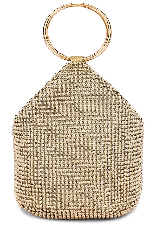 olga berg Bianca Ball Mesh Handle Bag in Gold
