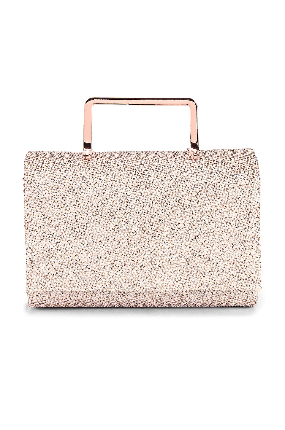 olga berg Ariana Glitter Top Handle Bag in Rose Gold