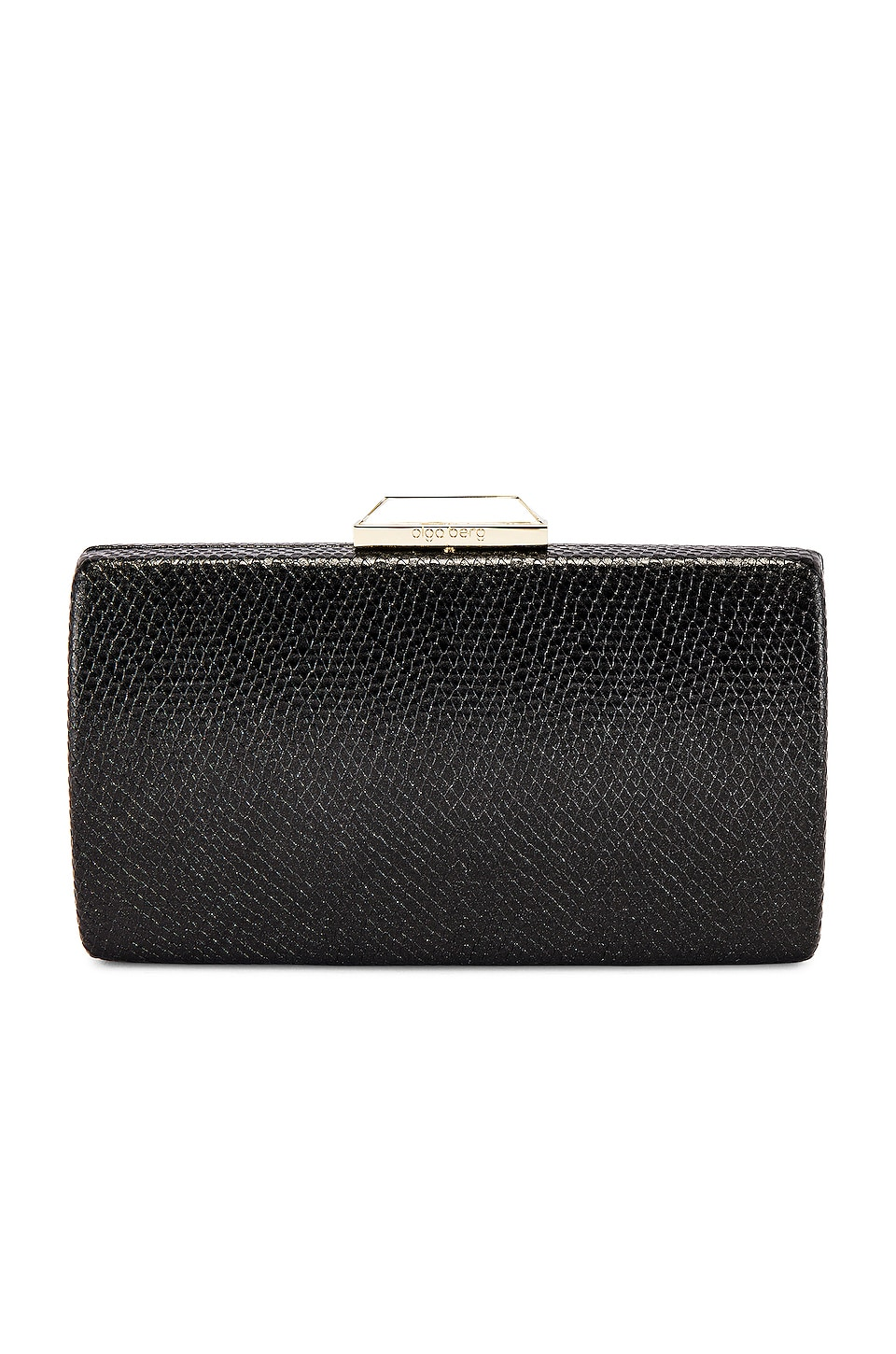 olga berg Giselle Metallic Reptile Clutch in Black