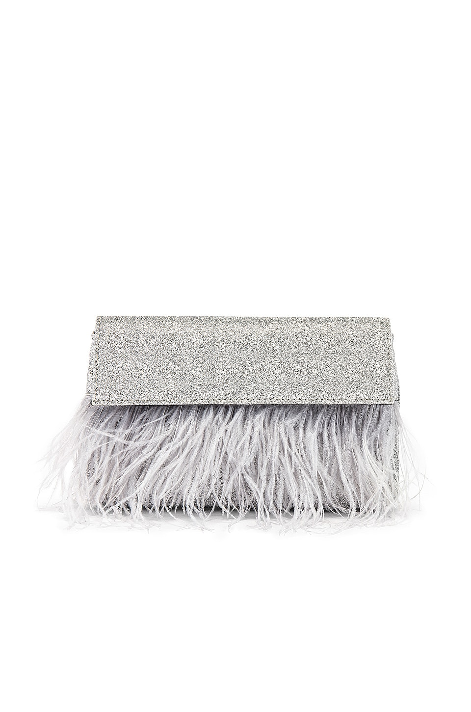 olga berg Mia Glitter Feather Trim Shoulder Bag in Silver