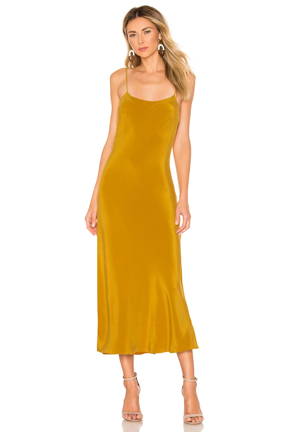 Olivia von Halle Artemis Silk Midi Slip Dress in Tobacco Marocain