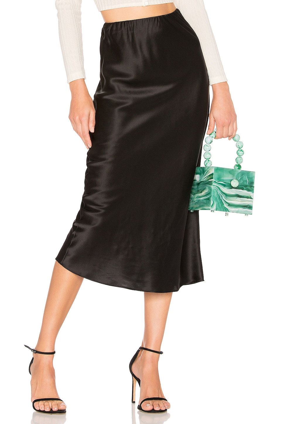 Olivia von Halle Isla Silk Midi Skirt in Jet Black