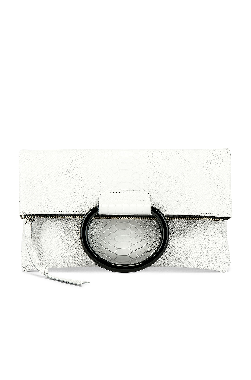 Oliveve Jolie Clutch in White Snake