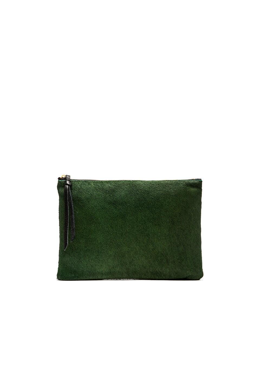 Oliveve Queenie Clutch in Emerald Grid