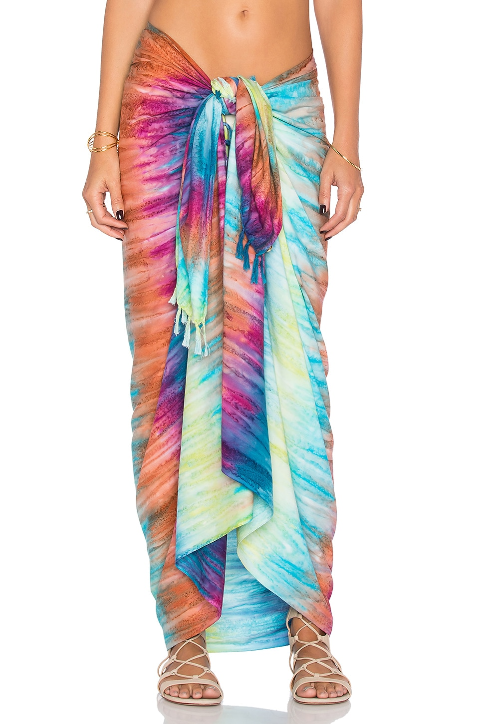 OndadeMar Long Fringe Sarong in Multi
