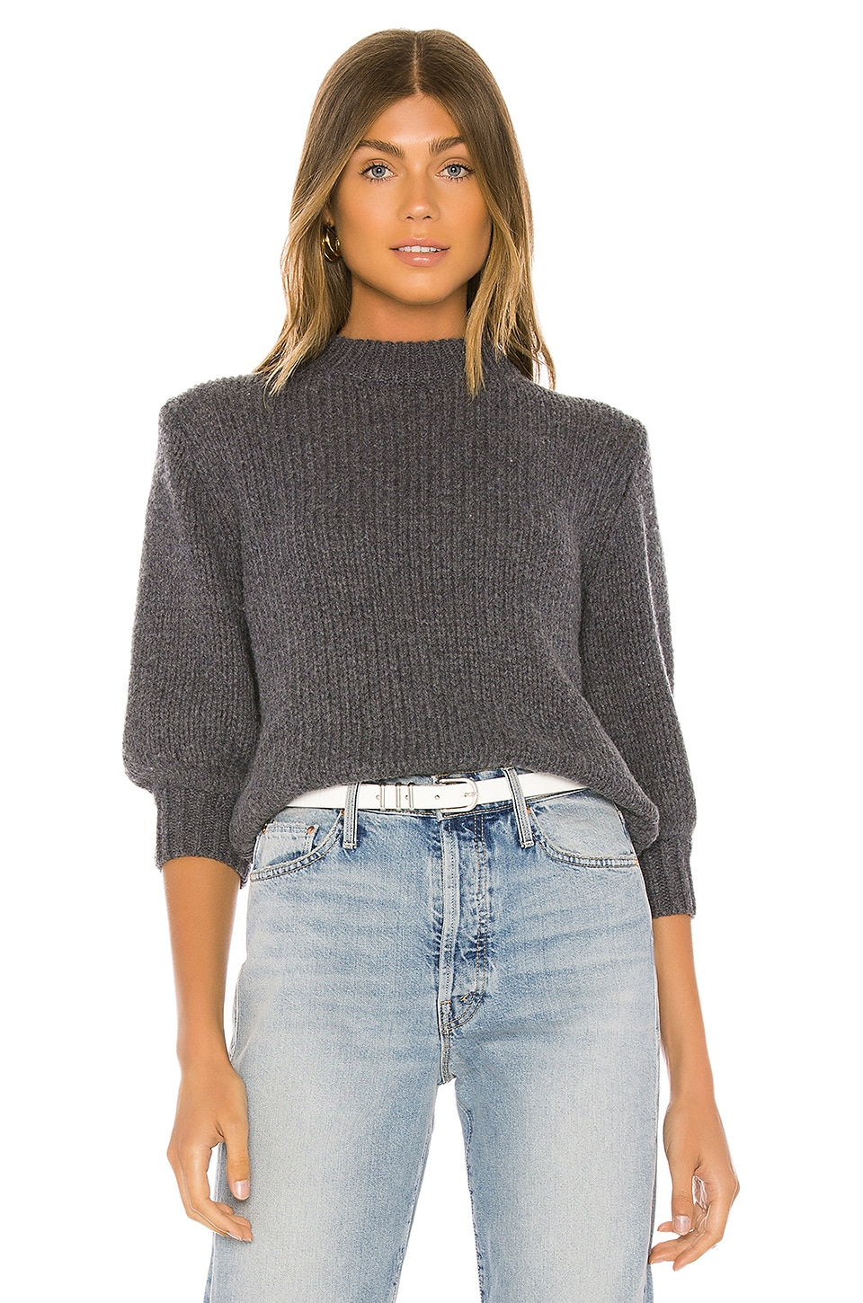 One Grey Day Milly 3/4 Pullover in Charcoal