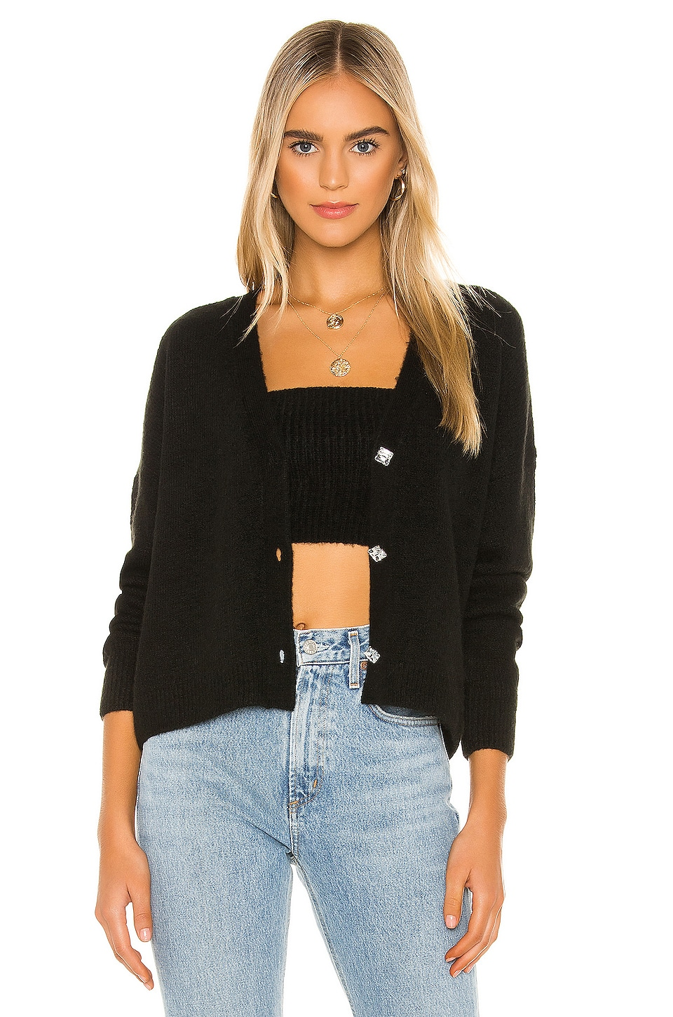 One Grey Day X REVOLVE Cass Cropped Cardigan in Black