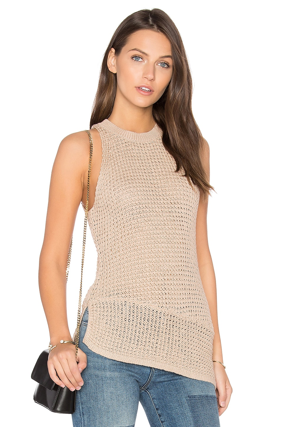 One Grey Day Evie Sleeveless Sweater in Sand
