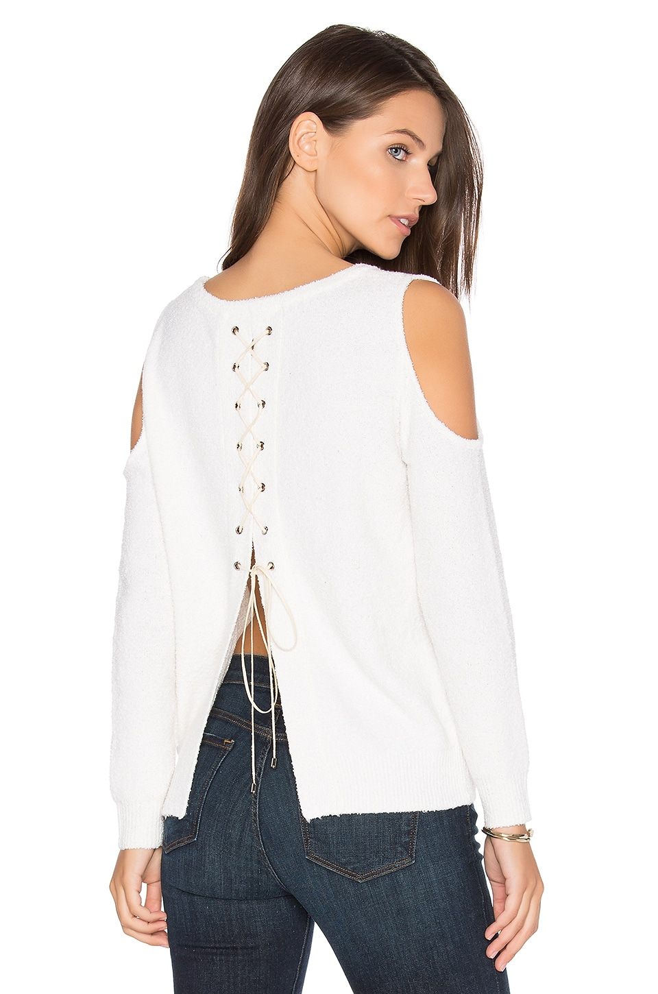 One Grey Day Sylvie Cold Shoulder Sweater in White