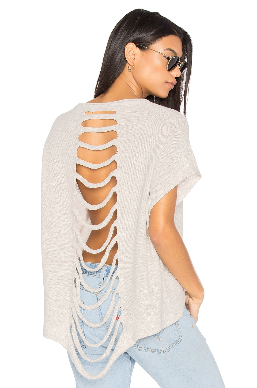 Yashu Slash Back Sweater by One Grey Day