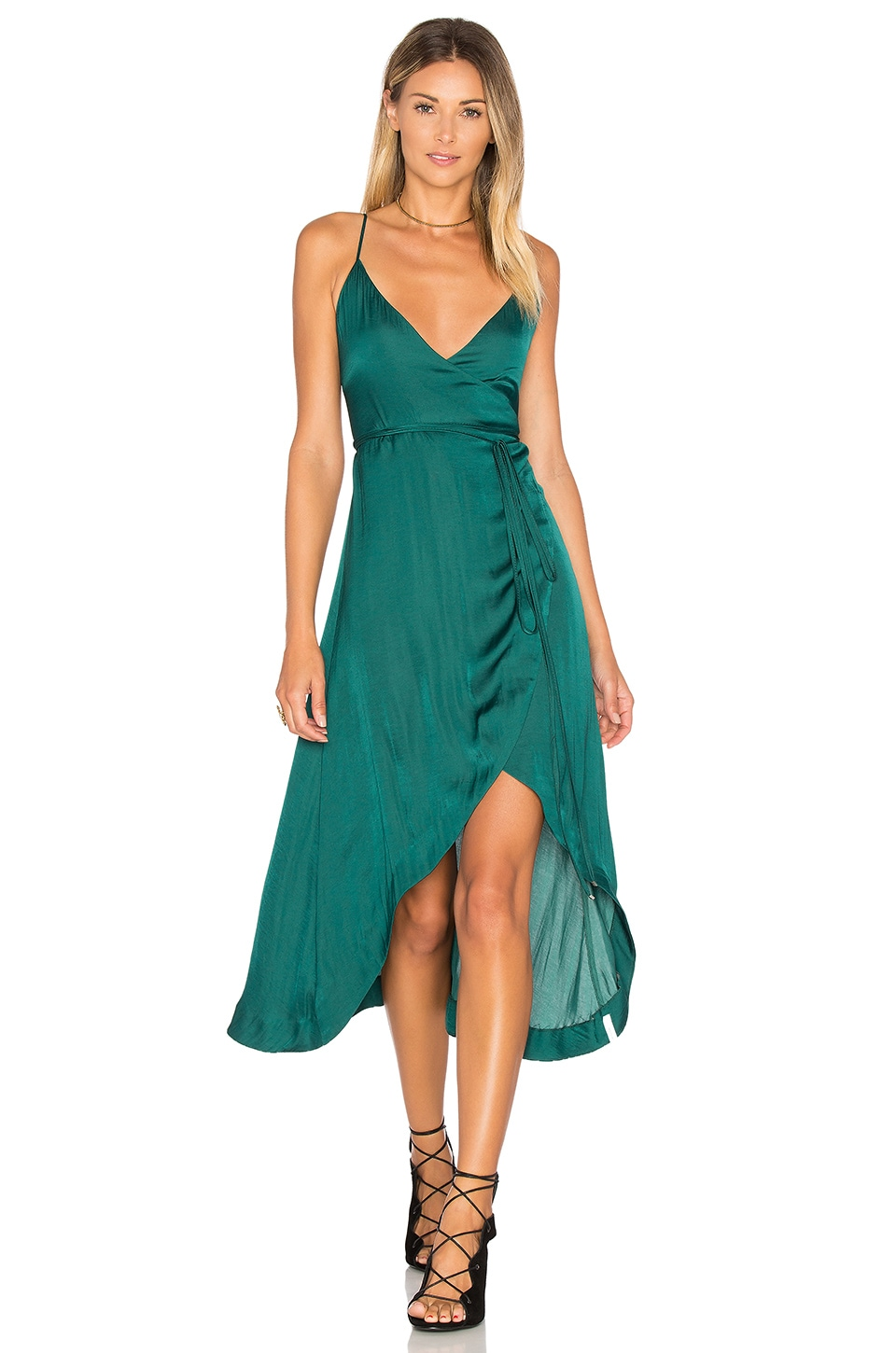 One Teaspoon San Cerena Wrap Dress in Emerald