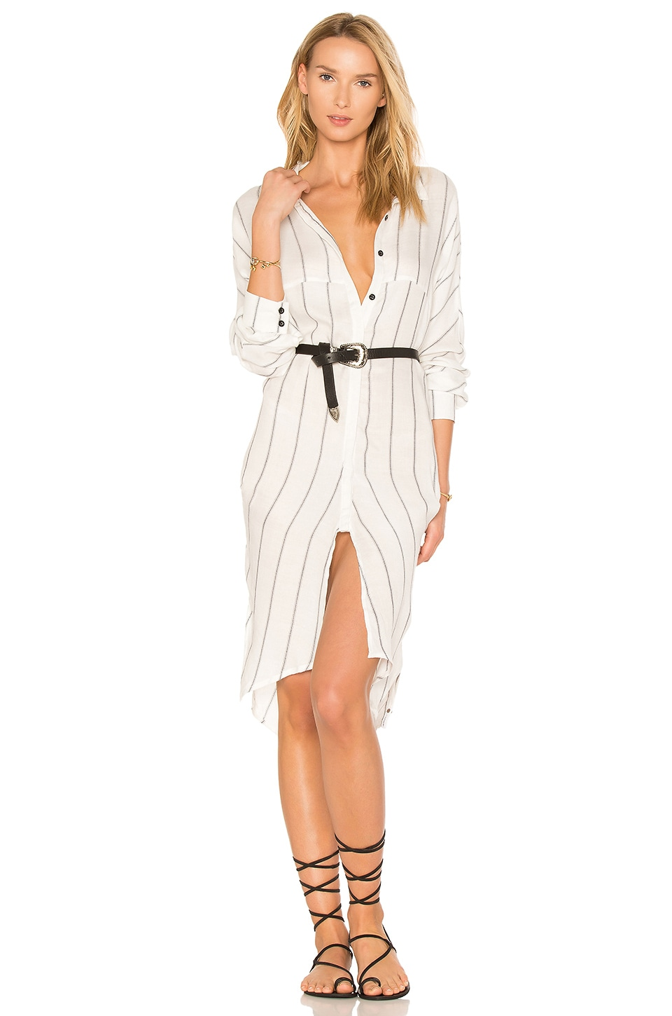 One Teaspoon East Village Shirt Dress in White & Black