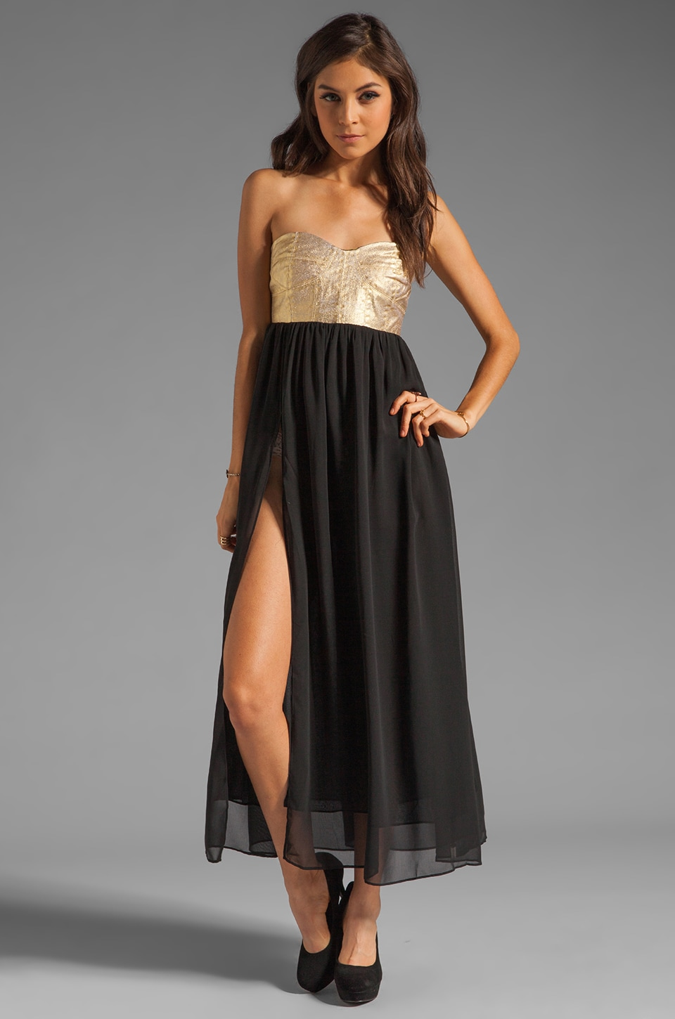 One Teaspoon Cash On Sequin Bustier Maxi Dress in Gold/Black